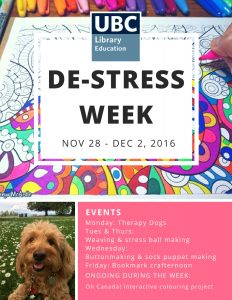 De-Stress Week at UBC Education Library