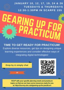 "Drop by or RSVP for ""Gearing Up For Practicum"" sessions"